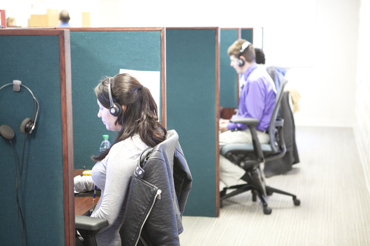 Employees in the Cleveland Sight Center call center.