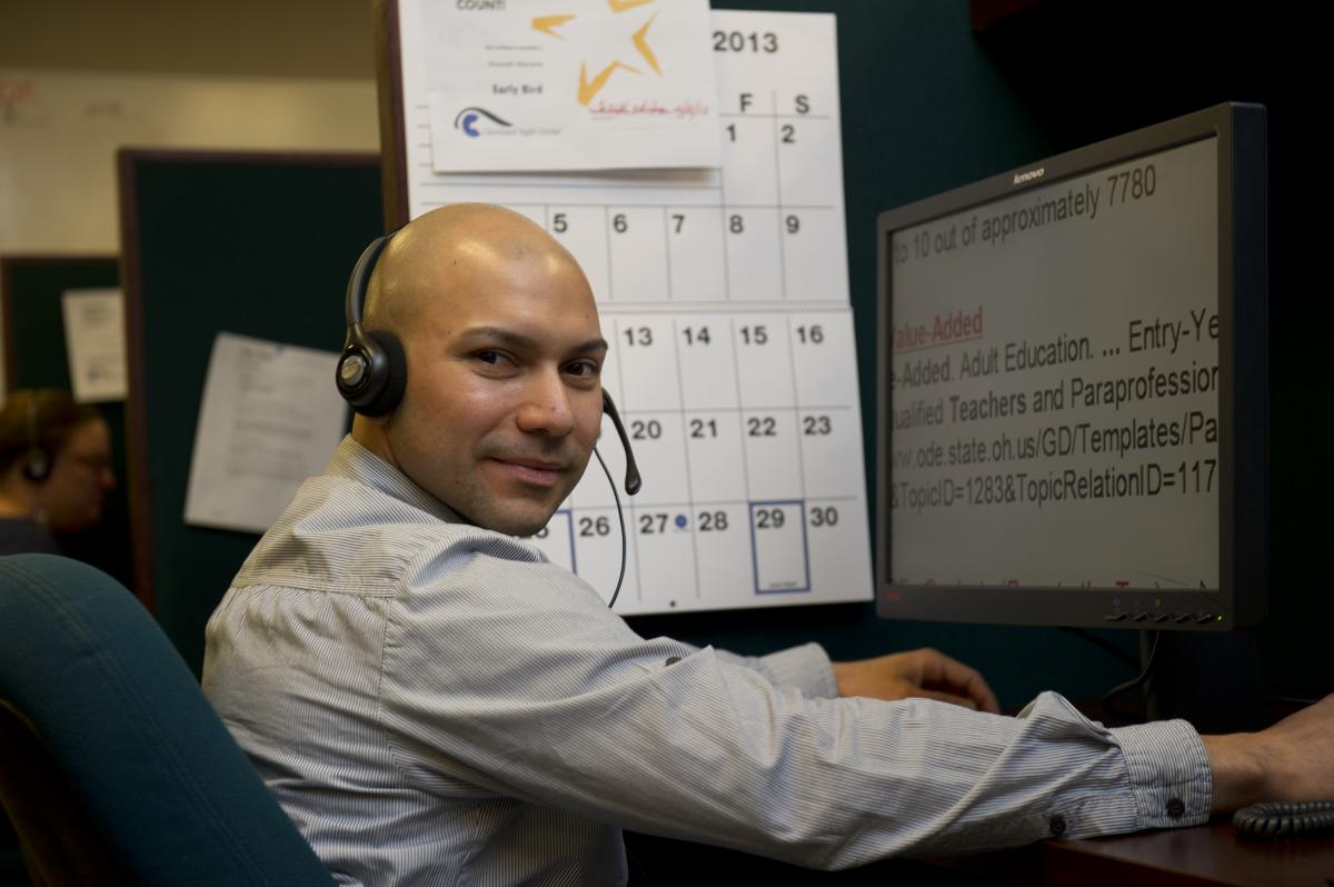 Adult male working in the CSC call center.
